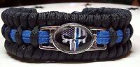 Police Thin Blue Line Punisher #2 Trilobite Wide Weave LEO Paracord Bracelet