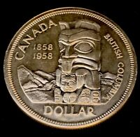1858-1958 Uncirculated $1.00 Canada Silver Dollar .800 Silver • Totem Pole