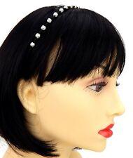 Haarreifen schwarz silber Perlen by Ella Jonte Hochzeit Braut Party Alice Band
