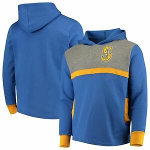Seattle Mariners Majestic Threads Colorblocked Pullover Hoodie - Royal/Gold