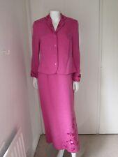 MONSOON Linen Silk 2 Piece  Pink  Fitted Dress & Jacket UK 12