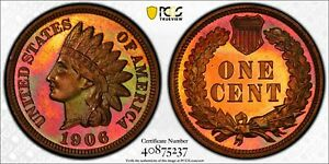 1906 INDIAN HEAD PENNY 1C PCGS PR65 RB GOLD SHIELD CAMEO? RAINBOW *See Video*