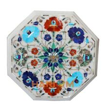 """12""""  White Marble Top Coffee Table Inlay Multi Stone Flower Christmas Gifts W180"""