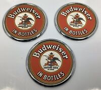 "RARE Lot Of 3 ""Budweiser In Bottles"" Beer Coasters, Chrome With Embossed Leather"