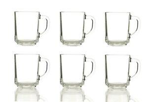 6 x CLEAR MUGS GLASSES TEA COFFEE MUG CAPPUCCINO GLASS CUPS HOT DRINK MUGS