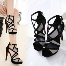 Womens Sexy Ankle Strap Geometric Platforms High Heels Shoes Peep Toe Sandals