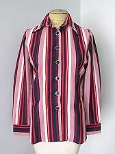 Vtg 70s Mod Rwb Red White Blue Stripe Poly Knit Blouse Top Bullseye Buttons 14
