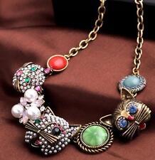 Betsey Johnson Pendant jewelry rhinestone crystal pearl cat women necklace Retro