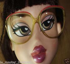 Ancienne monture lunettes vue optique plastique métal vintage (liseret rouge)