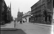 VTG 1900's GLASS  PLATE NEGATIVE OF HORSE CARRIAGE ON NEW YOK CITY STREET #3