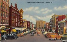 Geneva New York Seneca Street Looking East Postcard c1940s Schine'S Theater