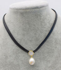 """freshwater pearl white rice and black leather chocker necklace14-15"""" wholesale"""