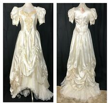 Vintage Wedding Dress 80s Long Train satin Lace applique Pearls French sz 8