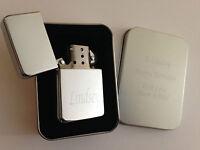 Engraved Personalised Chrome Lighter Birthday Gift Wedding Favour Usher Best Man