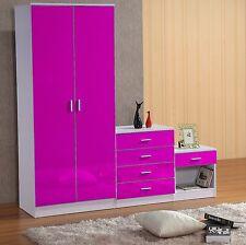 Marina High Gloss Bedroom Furniture Sets Trio Set Wardrobe Chest - Purple high gloss bedroom furniture