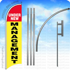 Under New Management - Windless Swooper Flag 15' Kit Feather Banner Sign - yb