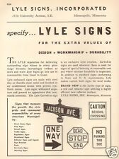 VTG 1942 Lyle Signs ROAD Traffic ONE WAY Stop Jackson Ave CITY STREET Ad