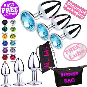 Stainless Steel ANAL BUTT PLUG Crystal Stud Jewel BDSM Metal Sex Toy FREE BAG