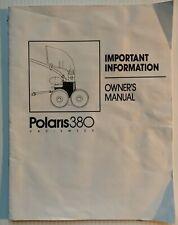 POLARIS 380 VAC SWEEP OWNER'S MANUAL for SWIMMING POOL VACUUM, 13 PAGES ORIGINAL