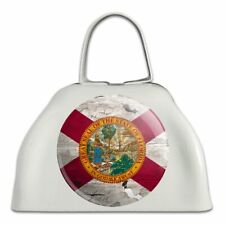 Rustic Florida State Flag Distressed Usa White Metal Cowbell Cow Bell Instrument
