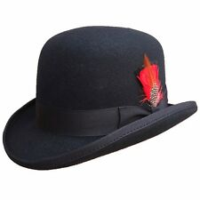 Men's Wool Felt Derby Hat Bowler Hats Feather Removable -ON PROMOTION