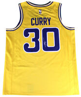 STEPHEN CURRY Autographed Warriors Hardwood Classic Gold Jersey STEINER