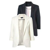 Celebrity Style Jersey Office Wear Women's White Blazer Jacket Australia Black