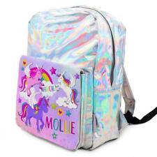 Personalised Girls Backpack UNICORN Holographic Shiny Silver School Bag KS152