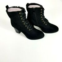 Journee Collection Black Lace Up Boots Baylor Size 9 New Without Box