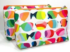 2pc Clinique Cosmetic Makeup Bags (Sunglass Pattern) Pink, White, Green,blue
