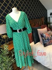 ZARA Green Polka Dot Dress Button Front BNWT SMALL Midi Bloggers V Neck