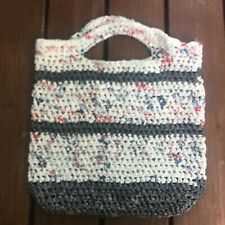 Handmade upcycled plastic bag tote strong knitted plastic Recycle eco