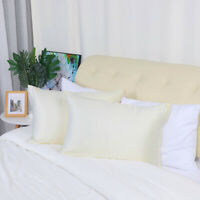 2 Pcs Zippered Silky Satin Pillowcases Cream Standard Size Pillow Cases Covers