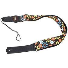 Guitar Strap Adjustable Soft Cotton Lovely Flower Pattern Strap for Guitar Brown