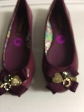 New Coach Poppy Women's 8.5 Purple Caper Patent Leather Embellished Flats Shoes