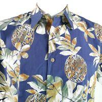 Cooke Street Artistic Pineapples Medium Blue Orange Green Hawaiian Aloha Shirt