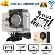 4K WIFI Action Remote Camera 1080P HD 16MP 30m Waterproof Sports DV Camera