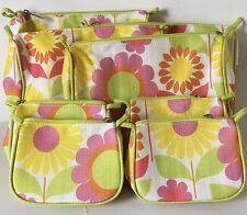 Lot 8 Clinique Floral Cosmetic Makeup Bags Multi-Color (4 Large + 4 Small)