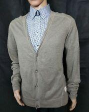 All Saints Uomo Cardigan Maglione Pullover in maglia sottile cotone seta lino taglia XL