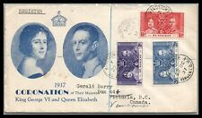 St. Vincent  KGVI Coronation issue on a Registered cover to Canada