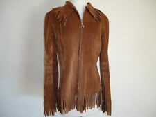 H.O.T. High Orig Trend Italy Giacca Brown Suede Jacket fringe arms waist neck