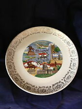 Antique Missouri Gold Trim Souvenir State Collector Plate The Show Me State