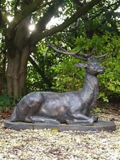 LARGE LIFESIZE CAST IRON LAYING STAG DEER BRONZE ANIMAL STATUE GARDEN KNEELING