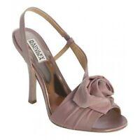 NIB Badgley Mischka LANAH bridal satin rosette heel sandal open shoes ROSE 7,5 M