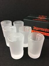 6 New Boxed Jagermeister Shot Glasses 1 Ounce Frosted Glass In Sealed Box  MR