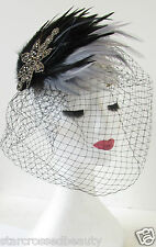 Black & Grey Silver Feather Birdcage Veil Fascinator Headpiece 1940s 1950s S27