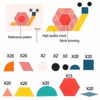 KQ_ 180Pcs Wooden Geometric Tangram Puzzles Building Blocks Educational Toys Cut