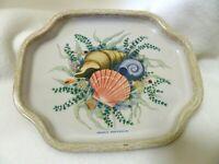"Vintage Elite Metal Tray 7.5"" Seashell Design- Made in England"