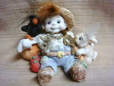 1993 Dreamsicles by Kristin Scarecrow Cherub w/Crow Bunny Pumpkin Rare & Retired