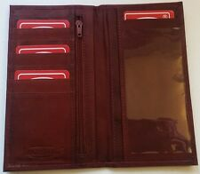 Men's Women's Burgundy GENUINE LEATHER Checkbook Cover Holder Organizer WALLET